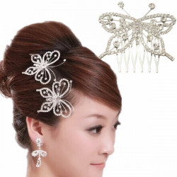 Silver Rhinestone Hollow Out Butterfly Hair Comb Hair Accessory