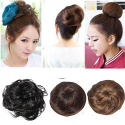 Stylish Synthetic Fiber Pony Tail Hair Piece Bun Extension Scrunchie