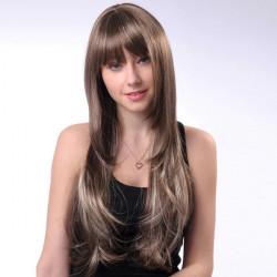 WM61 Grey Long Wavy Synthetic Chemical Fiber Neat Bang Wigs
