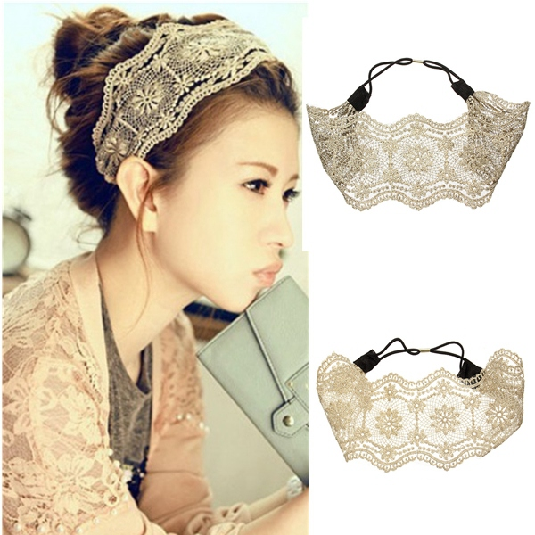 Wide Hollow Flower Headband Lace Hair Band Accessories Hair Care & Salon