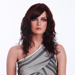 Wine Red Synthetic Curly Women Wig