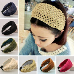 Wool Knitted Hollow Out Hair Hoop Head Wrap Headband Hair Accessory