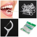 100pcs 2 In1 Dental Flosser Floss Tooth Picks Teeth Clean Food Debris Health Care