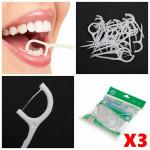 300pcs 2 In 1 Dental Flosser Floss Tooth Picks Teeth Clean Food Debris Health Care