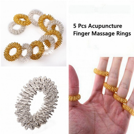 5 Pcs Acupuncture Finger Health Care Massage Rings 2021