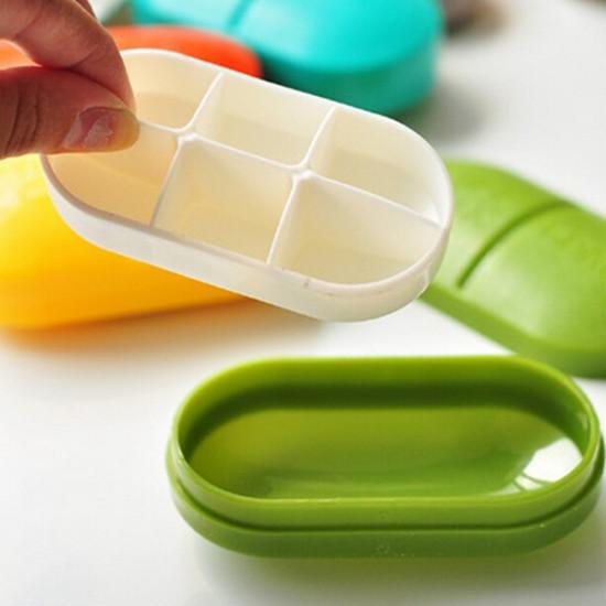 6 Partitions Portable Medicine Organizer Pill Box Case
