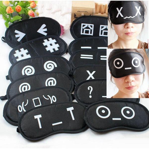 Cartoon Emoticon Soft Sleeping Eye Mask Travel Nap Cover Blindfold