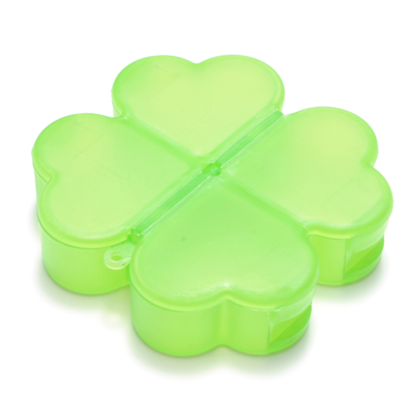 Cute Four-Leaved Clover Shape Portable Pill Storage Box Organizer Health Care