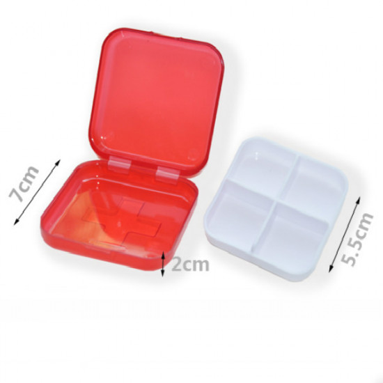 Red Cross Pill Case 4 Grid Medicine Storage Box