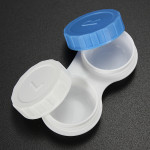 Small Frame Plastic White Blue Contact Lens Storage Soaking Cases Health Care
