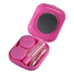 Square Pink Mini Mirror Contact Lens Storage Case Box Set Health Care