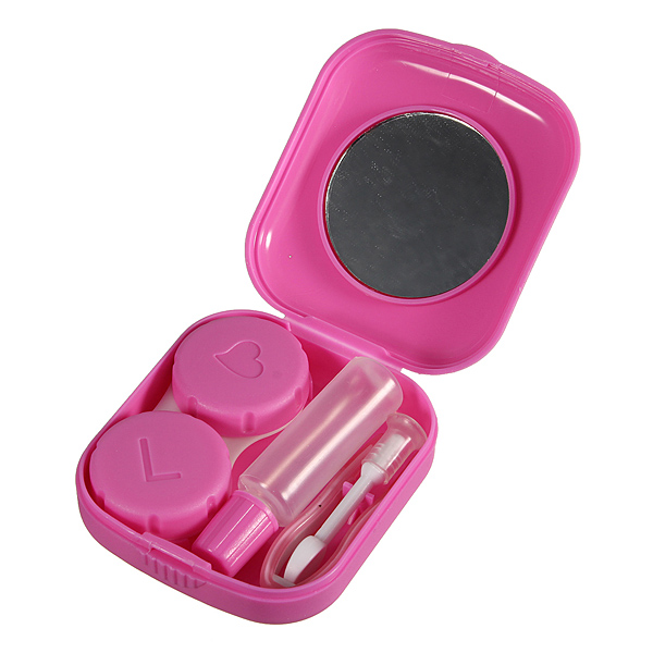 Square Pink Mini Mirror Contact Lens Storage Case Box Set