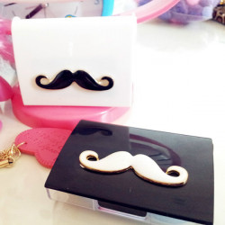 White Black Moustache Contact Lens Box Case Set