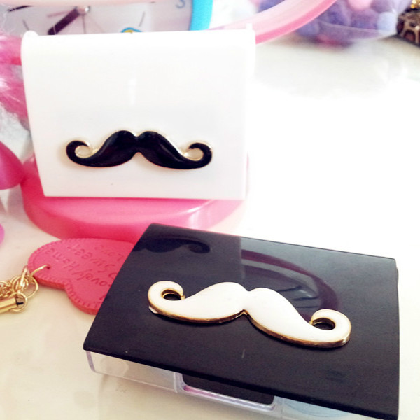 White Black Moustache Contact Lens Box Case Set