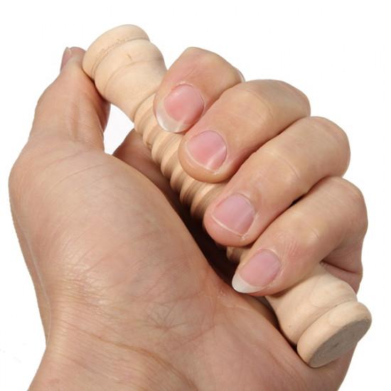 Wooden Manual Pain Relief Massage Stick Wheel Roller Massager