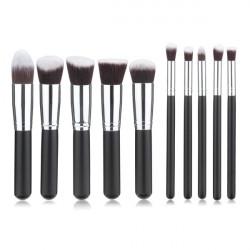10Pcs Black Synthetic Cosmetic Makeup Tool Blush Powder Brush Set Kit