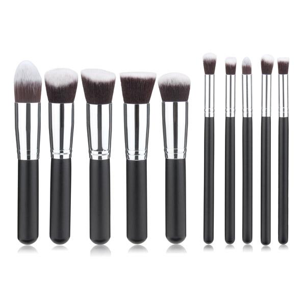 10Pcs Black Synthetic Cosmetic Makeup Tool Blush Powder Brush Set Kit Makeup
