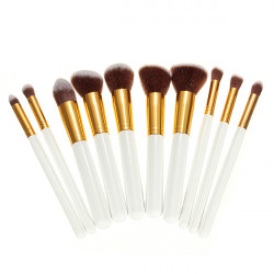 10Pcs White Foundation Makeup Tools Cosmetic Brushes Set Kit