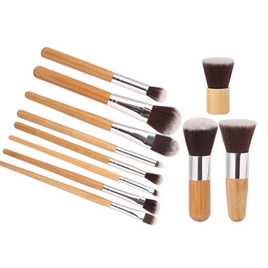11 Pcs Bamboo Handle Makeup Eyeshadow Blush Concealer Brush Set 2021