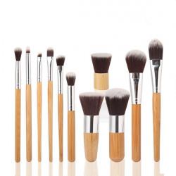 11 Pcs Bamboo Handle Makeup Eyeshadow Blush Concealer Brush Set