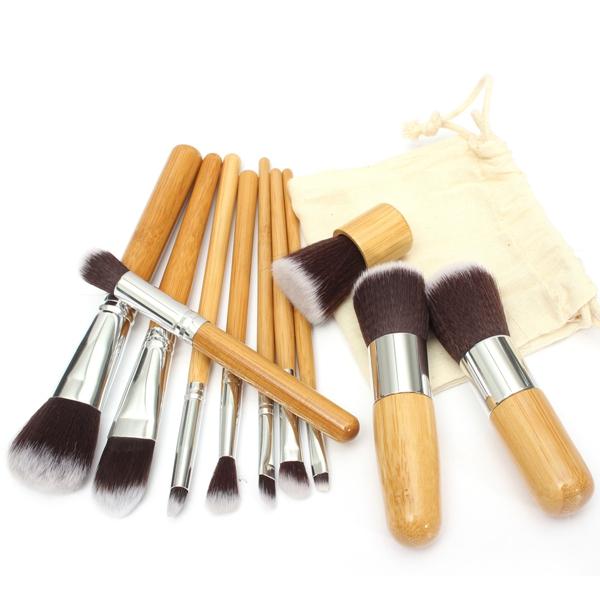 11pcs Wood Handle Makeup Cosmetic Brush Eyeshadow Concealer Brushes Set Makeup