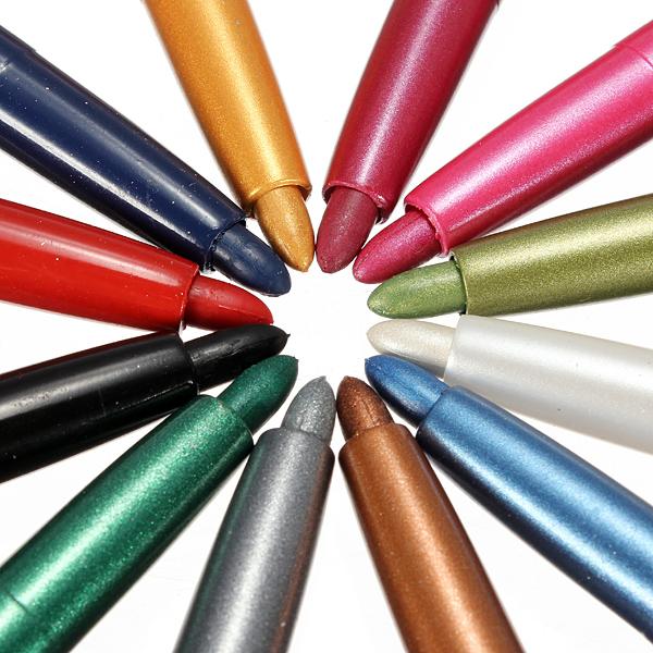 12 Colors Eye Shadow Eyeliner Lip Liner Pen Set Eye Makeup