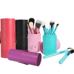 12Pcs Professional Makeup Cosmetic Brush Set Cylinder Leather Case Makeup