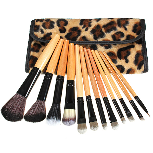 12pcs Leopard Cosmetic Makeup Powder Brush Set With Leather Case Makeup