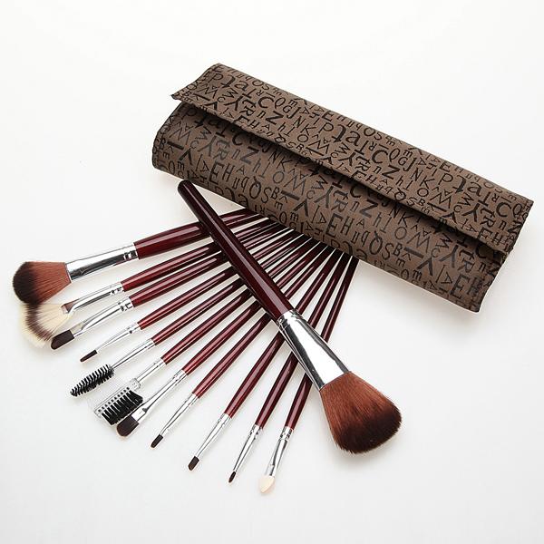 12 pcs Makeup Brush Eye Shadow Brushes Set Kit Letter Case Makeup