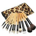 12 pcs Pro Makeup Brushes Set Cosmetic Tool With Leopard Bag Makeup
