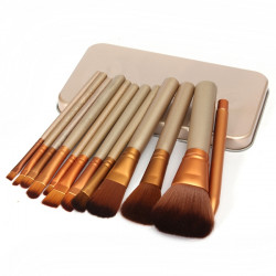 12pcs Professional Makeup Cosmetic Brushes Set With Metal Boxes