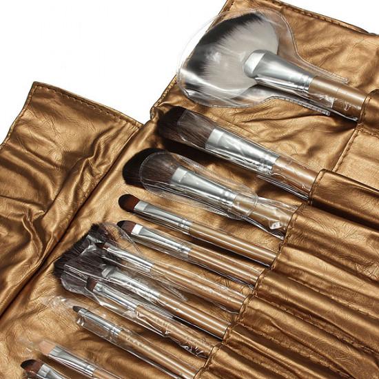 15pcs Cosmetic Makeup Powder Brush Set Foundation Leather Case 2021