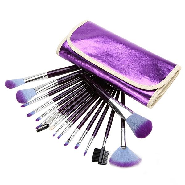 16Pcs Purple Cosmetic Makeup Brush Set Leather Pouch Case Makeup