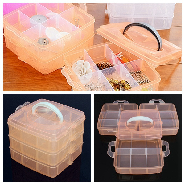 18 Grids Transparent Cosmetic Nail Tips Container Storage Box Case Makeup