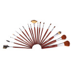 18Pcs Cosmetic Nylon Hair Makeup Brush Set + Brown Roll Up PU Bag Makeup
