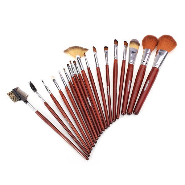 18Pcs Cosmetic Nylon Hair Makeup Brush Set + Coffee Roll Up PU Bag Makeup