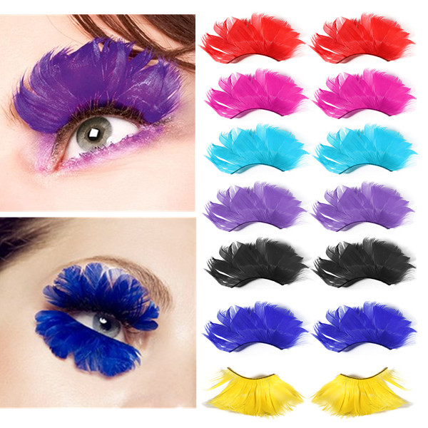 1 Pair Multicolor Fancy Party Long False Feather Eyelashes Makeup