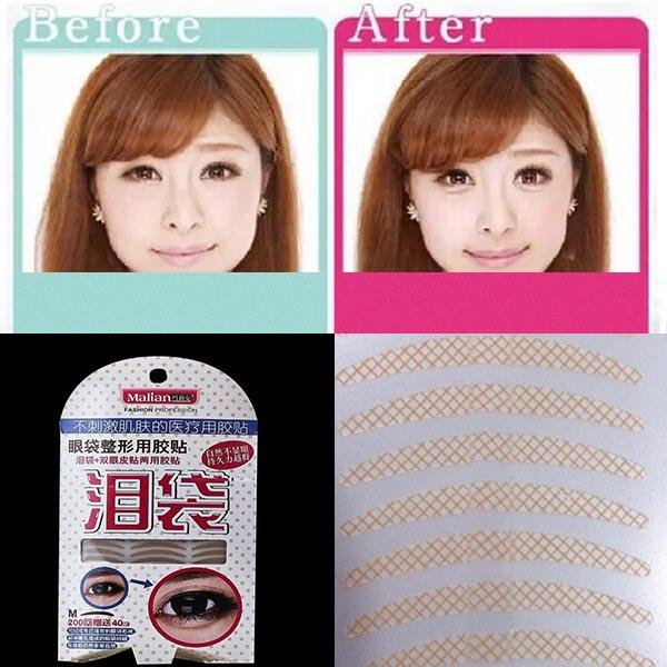 240 Pairs 2 In 1 Double Eyelid Tape Eye Bag Lying Silkworm Sticker Makeup