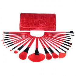 24 pcs Wool Red Eyeshadow Eyebrow Cosmetic Makeup Brushes Set Kit