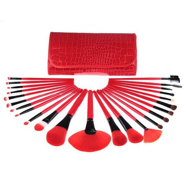 24 pcs Wool Red Eyeshadow Eyebrow Cosmetic Makeup Brushes Set Kit Makeup