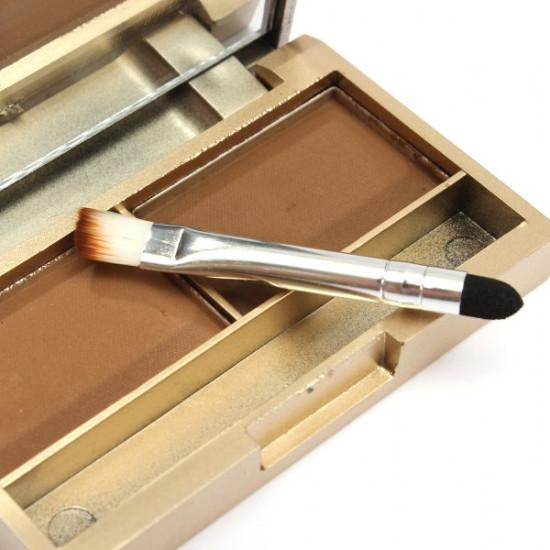 2 Colors Cosmetic Brush Mirror Eyebrow Powder Eye shadow Palette 2021