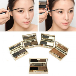 2 Colors Cosmetic Brush Mirror Eyebrow Powder Eye shadow Palette