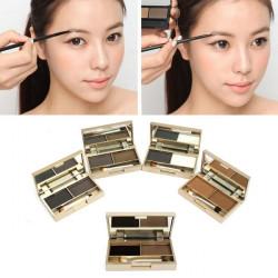 2 Colors Cosmetic Brush Mirror Eyebrow Powder Eye shadow Palette