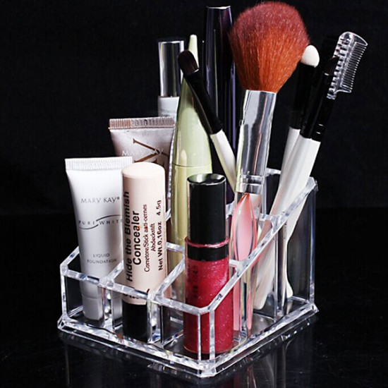 2 Tiers Acrylic Clear Cosmetic Container Makeup Storage Organizer 2021
