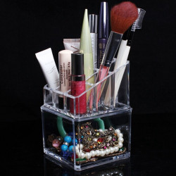 2 Tiers Acrylic Clear Cosmetic Container Makeup Storage Organizer