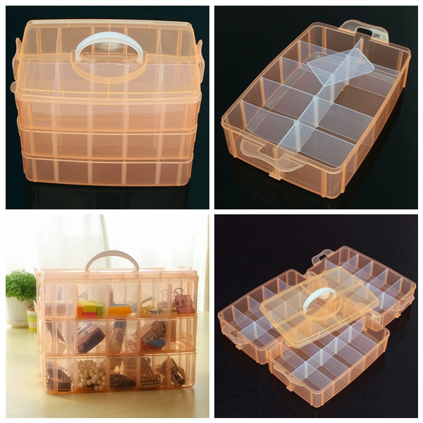 30 Grids Medium Size Transparent Cosmetic Nail Tips Container Storage Box Makeup