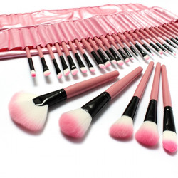 32 PCS Pink Eyeshadow Eyebrow Blush Makeup Brushes Cosmetic Set