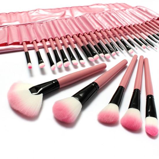 32 PCS Pink Eyeshadow Eyebrow Blush Makeup Brushes Cosmetic Set 2021