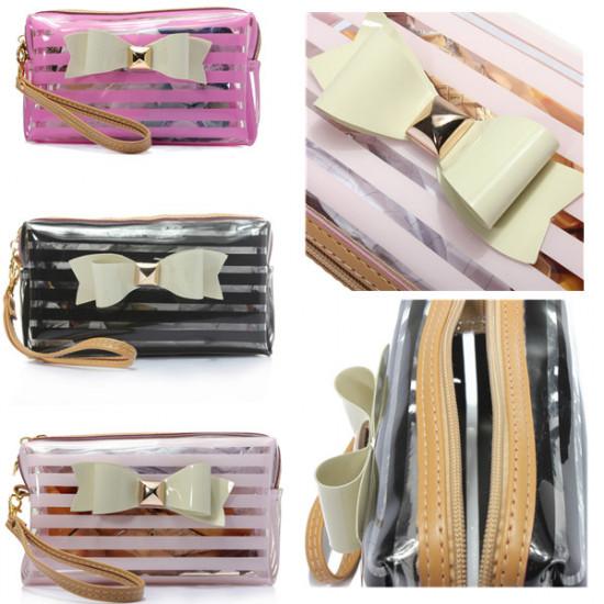 3 Colours Transparent Stripe Bowknot Zipper Makeup Cosmetic Bag 2021