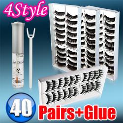 40 Pairs 4 Styles False Black Long Eyelashes free glue